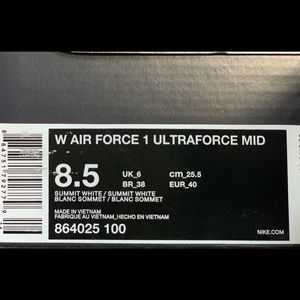 Nike Shoes - AIR FORCE 1 ULTRAFORCE MID SUMMIT WHITE - W 8.5 US